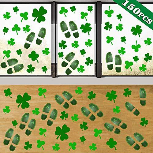 AMENON 150 pegatinas para decoración del día de San Patricio, para ventanas, tréboles, duendes de piso, ventanas, adhesivos, adornos para fiestas, decoración del hogar, oficina, fiestas irlandesas