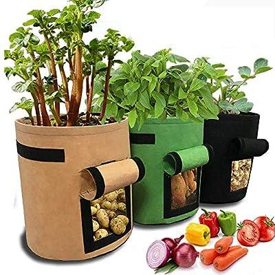 Tenrany Home Sac de Plantation Non Tissé de Jardin, 3 Pcs 10 Gallons Sacs de Culture pour Pommes de Terre, Sacs à Plantes Peut Cultiver des Legumes, Fraises, Carottes