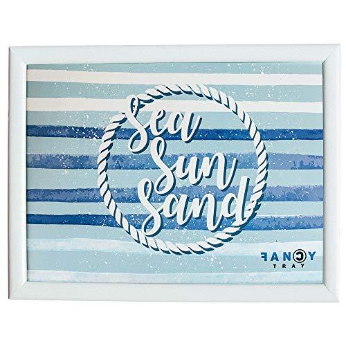 Fancy Tray Home Laptop-Schreibtisch, gepolstert, ergonomisch, für Essen, Mehrzweck, Arbeitstisch 43 x 33 x 1,5 cm, hochwertige Materialien, Holz, Design SEA Sun Sand 1