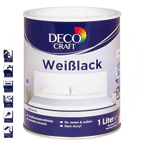 Deco Craft Buntlack Weißlack Weiß Glänzend 1 L Innen & Außen