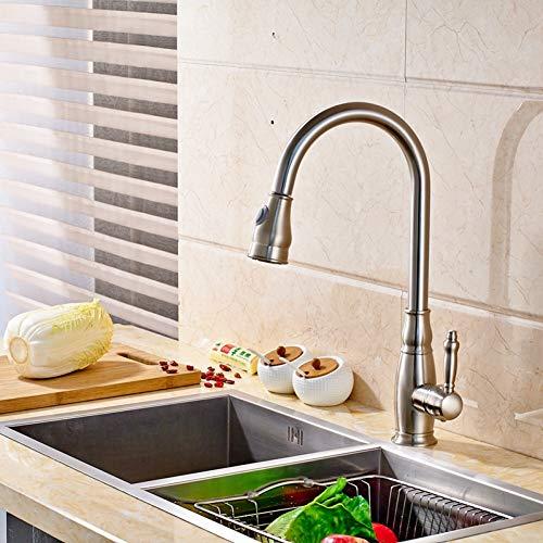 YHSGY Grifos de cocina Moderno Asa Única Agujero Cepillo Níquel Fregadero De La Cocina Grifo Mezclador Agua Caliente Y Fría