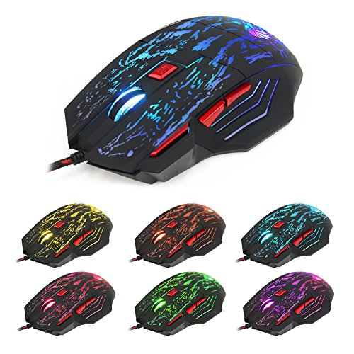 KANGneei Mouse,5500 DPI 7 Keys Button LED Optical USB Wired Gaming Mouse Mice for Pro Gamer Hot