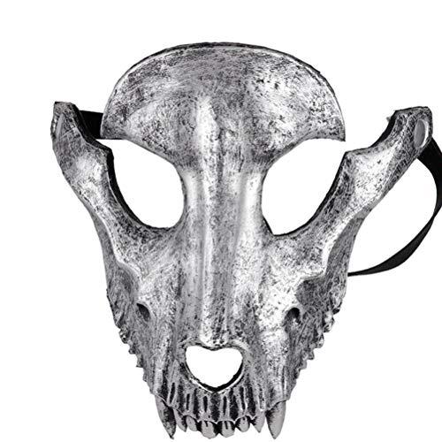 AmsofunHalloween máscara de fiesta de ovejas cráneo cubierta máscara Cosplay cara completa terrible espantoso máscaras mascarada decoración de fiesta (negro)