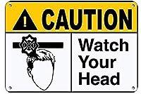 金属装飾ヴィンテージウォールブリキ看板、注意してくださいあなたの頭の危険看板ファミリーガーデン通知サインサイン装飾錫金属標識