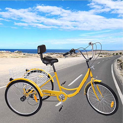 Ridgayard 24'' 3 Wheel Tricycle for Adult 7 Speed Adjustable Cruise Cargo Bike with Folding Basket for The Aged (Yellow)