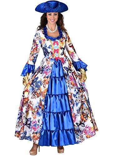 narrenkiste M219144-XXL bunt-blau Butterfly Damen Rokoko Kleid Kostüm Marquisin Prinzessin...