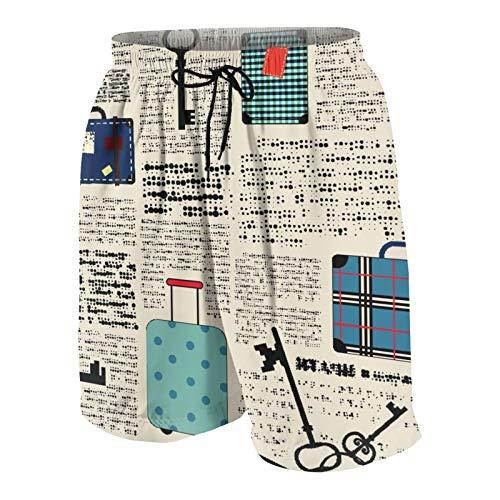 JOSENI Hombres Personalizado Trajes de Baño,Viaje Estilo Retro Tema Vacaciones con Maletas Vintage con Llaves,Casual Ropa de Playa Pantalones Cortos