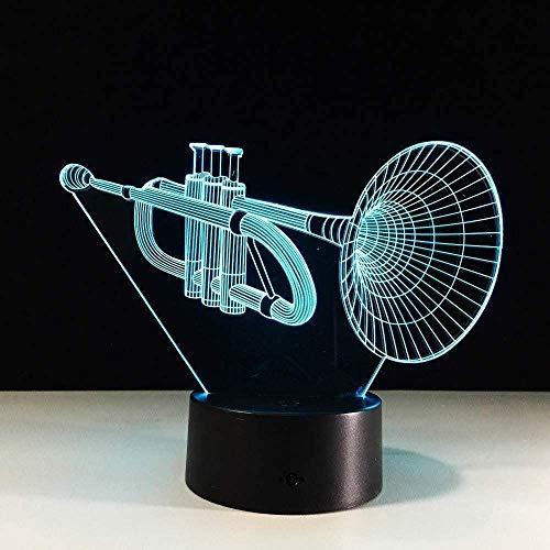 De Trompet Acryl 3D Lamp Muziekinstrumenten Led 3D Nachtlampje Kleurrijke Led Tafel Bureau Lamp Figuur Kinderen S Slapende Lamp