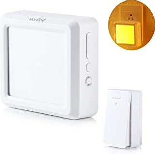 MoniSee, Wireless Doorbell, Plug-in Receiver, with Auto Dusk-to-Dawn Sensor LED Night Light, IPX5 Waterproof Self-power Transmitter