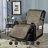 """STONECREST Recliner Chair Cover, Water Resistant Faux Leather Slipcover, Washable Furniture Protector for Pets, Kids, Seat Width Up to 23 Inches with Straps(Grey, 23"""" Recliner)"""