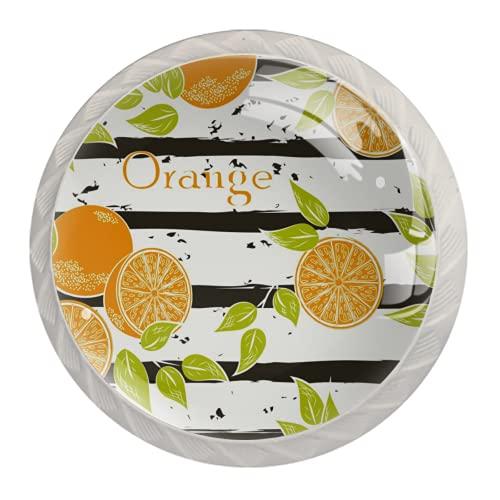 LXYDD Manijas para cajones Perillas para gabinetes Perillas Redondas Paquete de 4 para Armario, cajón, cómoda, cómoda, etc. - Arte del patrón de la Raya Naranja de la Fruta