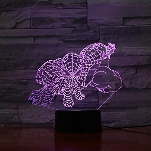 Helden-Tekenfiguur illusie nachtlampje 3D LED tafel schrijftafel lampen, 7 kleuren USB opladen bedlampje slaapkamer decoratie voor kinderen Kerstmis verjaardagscadeau