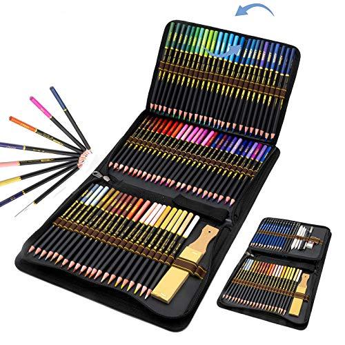 96 Lápices de Colores en estuche con cremallera, Estuche Lapices dibujo profesional...