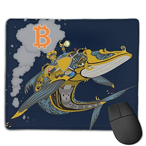 Bitcoin Steampunk Crypto Whale Customized Designs Non-Slip Rubber Base Gaming Mouse Pads for Mac,22cm×18cm, Pc, Computers. Ideal for Working Or Game