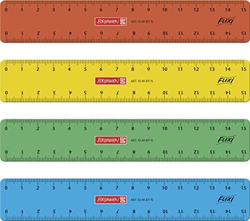 Brunnen 104987115 Flexi-Lineal für Schule und Büro 15 cm, unzerbrechlich, 4 verschiedene Farben, für Links- und Rechthänder)