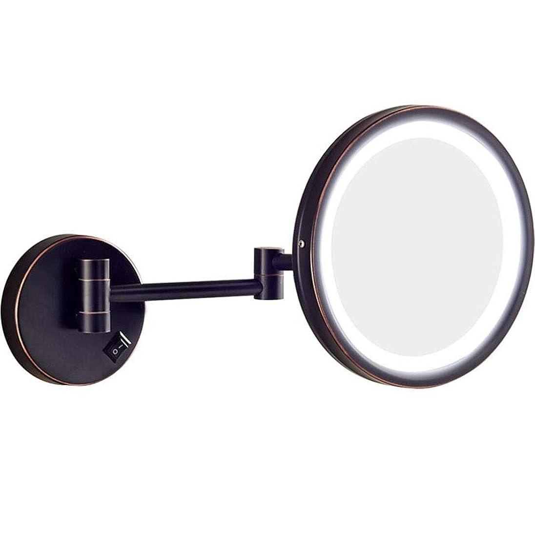 ゴミ凝視抗生物質HUYYA バスルームメイクアップミラー シェービングミラー LEDライト付き、バニティミラー 壁付 バニティミラー 3 倍拡大鏡 丸め 寝室や浴室に適しています,Black_8.5inch