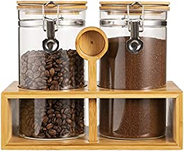 Yangbaga Glass Coffee Containers with Shelf, 2 x 45 oz Coffee Bean Storage with Airtight Locking Clamp and Bamboo Spoon, Large Capacity Food Storage Jar for Kitchen