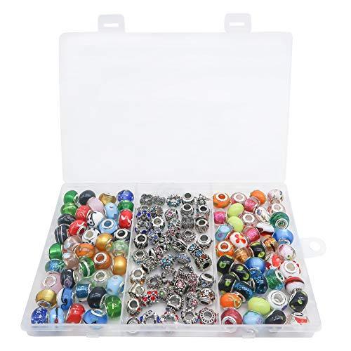 TOAOB 120 Stück Großes Loch Europäische Perlen Antik Silber Assorted Crystal Strass Stil Charm für Schmuckherstellung Armbänder Halsketten