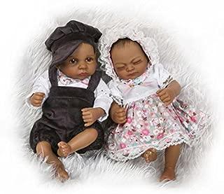 TERABITHIA Mini 10inch 26cm Black Couple Alive Reborn Baby Dolls Silicone Full Body African American Twins