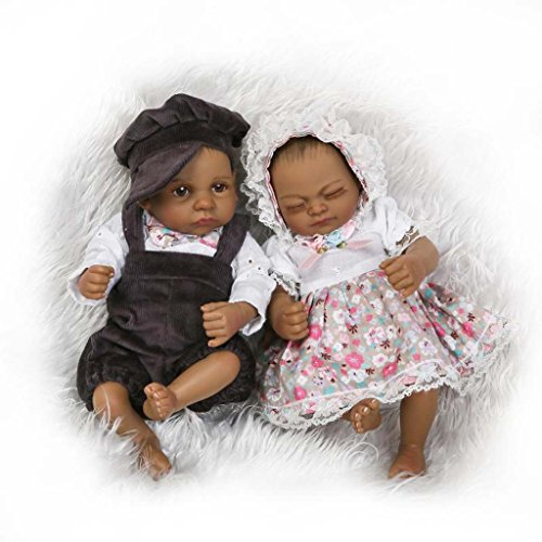 TERABITHIA Mini 10inch 26cm Black Couple Alive Reborn Baby Dolls Silicone Full Body African American Twins