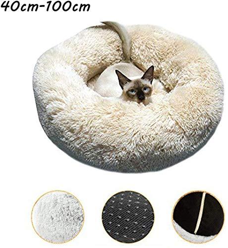 YLCJ Hondenbed Donut, rustgevend bed voor katten, ronde katten, rond nest, zacht en comfortabel pluche, comfortabel om te slapen, afneembaar, gemakkelijk te reinigen, machinewasbaar en antislip, 70 cm, 60cm