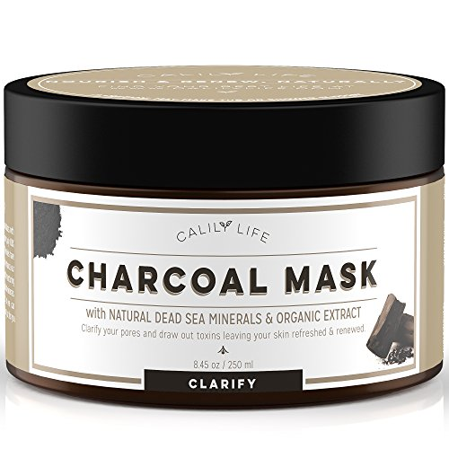 Calily Life Organic Deep Cleansing Activated Charcoal Mask with Dead Sea Minerals, 8.45 Oz. – Natural Wash-off Treatment -Deeply Cleanses and Minimizes Pores, Revitalizes Skin, Hydrates & Strengthens