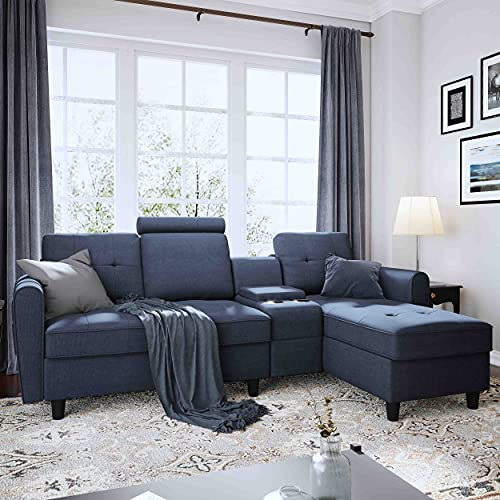 HONBAY Reversible Sectional Couch with Chaise Modern Upholstered L Shape Sofa for Living Room Office Sectional Corner Sofa with Left or Right Chaise, Denim Blue