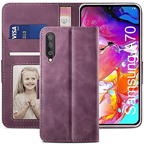 YATWIN Handyhülle Samsung Galaxy A70 Hülle, Klapphülle Samsung Galaxy A70 Premium Leder Brieftasche Schutzhülle [Kartenfach][Magnet][Stand] Handytasche für Samsung Galaxy A70 Case, Weinrot