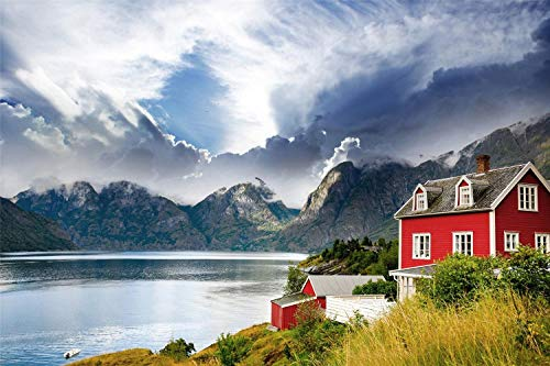KCHUEAN Jigsaw 1000 Pieces Creativity Diy Puzzles Imagine Toys Norway Fjord Lake Mountain House Landscape Wooden Assembling Decoration For The Home Toy Game Educational Toy For Kids And Adults