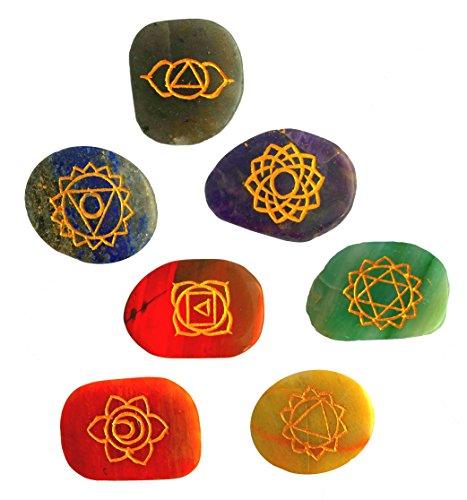 7 Chakra Steine   mit den 7 Chakren eingraviert   Handgravur Energiestein Therapie mit Anleitung