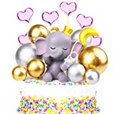 Mity rain 14 Pcs Pink Elephant Cake Topper - Cute Resin Baby Elephant, Gold Silver Pearl Balls & Pink Hearts Cake Picks for It's A Girl Baby Shower Kids Birthday Party Supplies