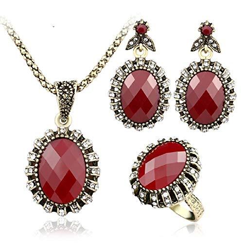 SSLL Schmuckset 3 Teiliges Set Rote Harz Halskette Ohrringe Ring Kindermode Hochzeit Brautschmuck Set Böhmen, Ringgröße 10