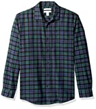 Amazon Essentials Regular-fit Long-Sleeve Flannel Shirt, Green (Black Watch Plaid)- M
