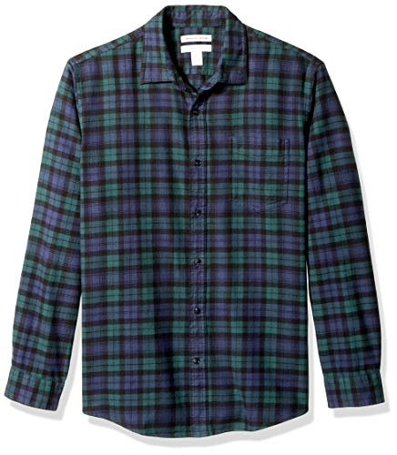 Amazon Essentials Men's Regular-Fit Long-Sleeve Plaid Flannel Shirt, Black Watch, X-Large