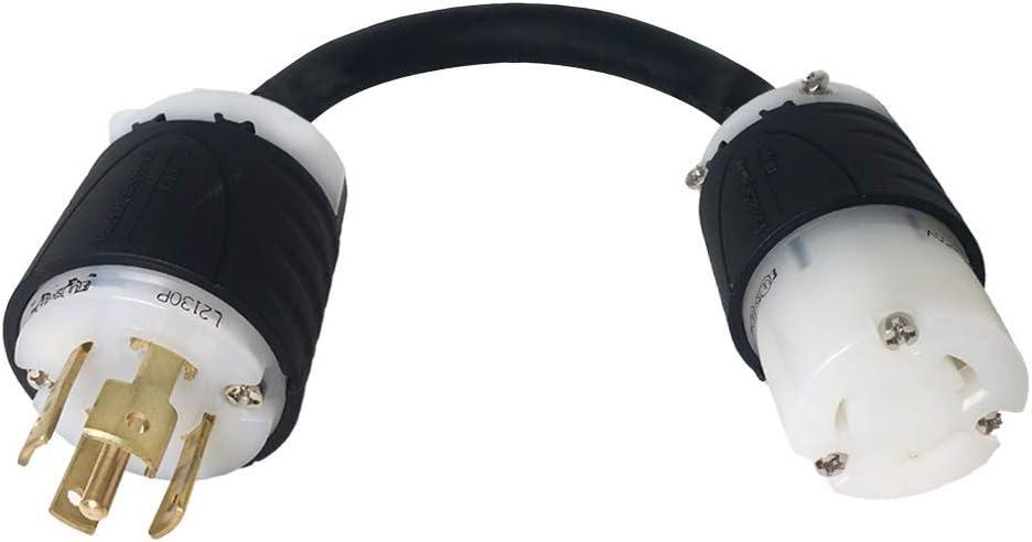 NEMA L21-30P to L6-20R Plug Adapter 12//3 SJOOW 1 Foot Iron Box # IBX-5175-01 20A//208V