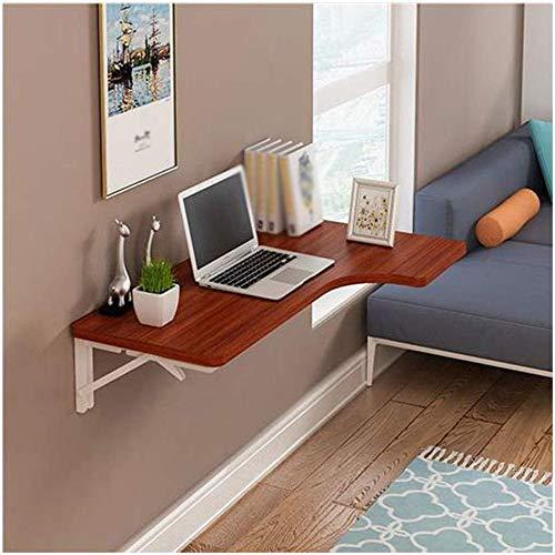 LITING muur opknoping tafel Teak kleur vouwen L-vormige hoek Eettafel Computer Bureau Bureau Studie tafel Thuis Console plank (Maat: 100 * 60 * 40cm)