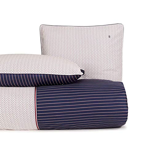 Tommy Hilfiger Juego de cama de satén, diseño de bandera pequeña, color azul marino, tamaño 135 x 200 cm + 80 x 80 cm
