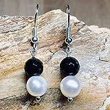Ohrringe PEARL BLACK echte Süßwasserperlen Perle schwarz weiß Onyx rund Struktur