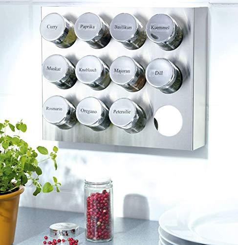 Gewürzregal aus Edelstahl mit 12 Gewürzgläsern aus Kunststoff