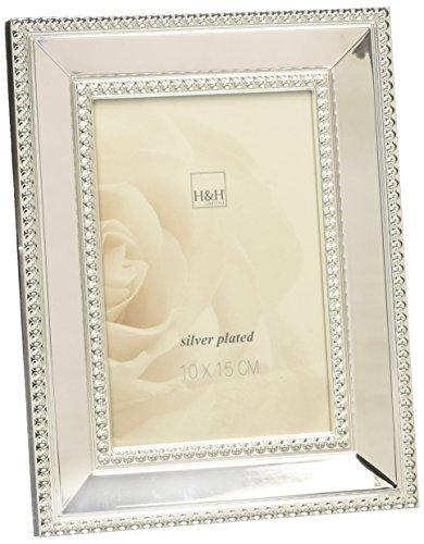 H & H 8159710 parel fotolijst, 10 x 15 cm, zilver, zilver, 16,5 x 10,5 x 21 cm