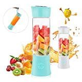 Portable Blender, Supkiir USB Rechargeable Mini Juicer Cup with Handle, Smoothie Blender with 6...