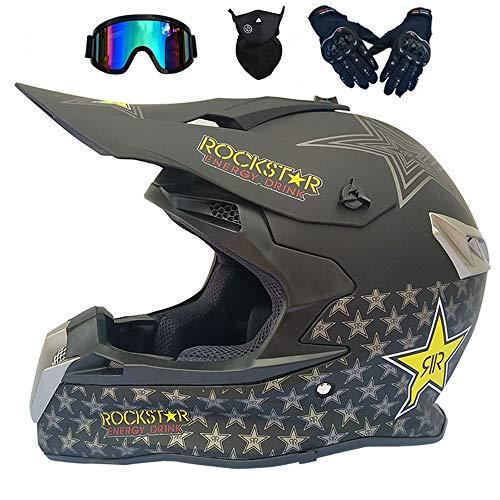 CNSTZX Motocross Casco con Gafas, Máscara, Guantes, Motocicleta Campo A Través del Engranaje Combo, Adulto Carretera Descenso Anticolisión Cross Casco, S-XXL 54-63 CM,L