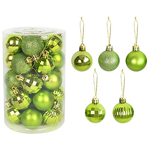 CHIC&TNK 34Pcs 4Cm Christmas Tree Decorations Balls Bauble Xmas Hanging Ball Ornaments for Home Year Gift,Apple Green