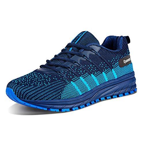 Straßenlaufschuhe Herren Damen Laufschuhe Fitness Turnschuhe Sneakers Air Sportschuhe Running Shoes(03-Dunkel/Blau,46)