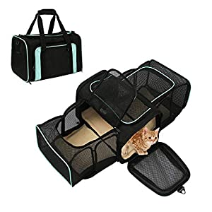 okdeals Airline Approved Pet Carrier, Soft Sided Pet Travel Carrier 4 Sides Expandable Cat Carrier with Fleece Pad for Cats, Puppy and Small Dogs (Black&Green)