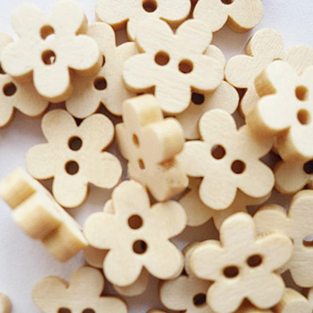 PEPPERLONELY 100PC Natural 2-Hole Flower Wooden Sew On Buttons 11mm