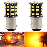 AMAZENAR 2-Pack 1157 BAY15D 1016 1034 7528 2057 2357 Phares de Clignotants de Voiture - 12V-24V Ambre/Jaune 2835 Ampoules de 33 LED SMD - Remplacement de L'ampoule LED de Clignotant de Queue