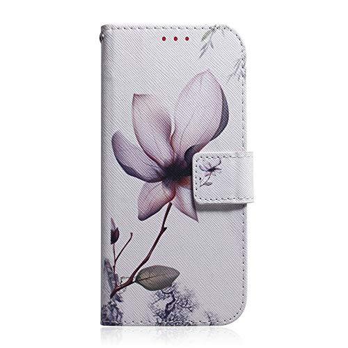 Sunrive Hülle Für Oukitel U7 Plus, Magnetisch Schaltfläche Ledertasche Schutzhülle Etui Leder Case Cover Handyhülle Tasche Schalen Lederhülle MEHRWEG(T Magnolie)