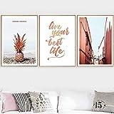 Cqzk Pink Beach Ananas Flamingo Zitate Wandkunst Leinwand