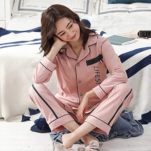 ZHANGNUO Pijama De Pareja Algodón Primavera Y Otoño Algodón De Manga Larga Pijama De Mujer para Hombre Verano Sección Delgada Traje De Servicio a Domicilio Verano